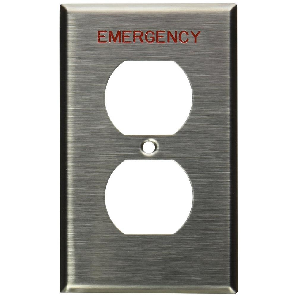 1-Gang Duplex Device Receptacle Wall Plate, Device Mount, Engraved Emergency,