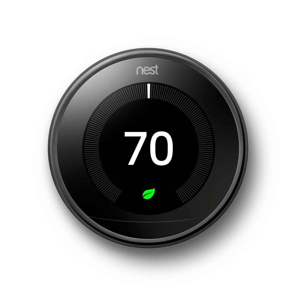 Nest Smart Learning Wi-Fi Programmable Thermostat, 3rd Gen, Mirror Black