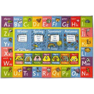 Multi-Color Kids Children Bedroom ABC Alphabet Seasons Months Days Educational Learning 5 ft. x 7 ft. Area Rug