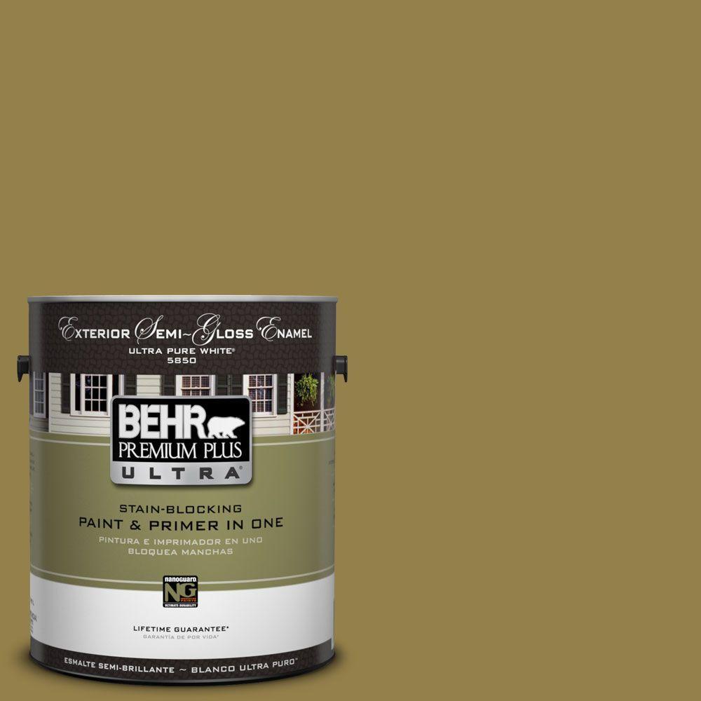 BEHR Premium Plus Ultra 1-Gal. #UL200-21 Lucky Bamboo Semi-Gloss Enamel Exterior Paint