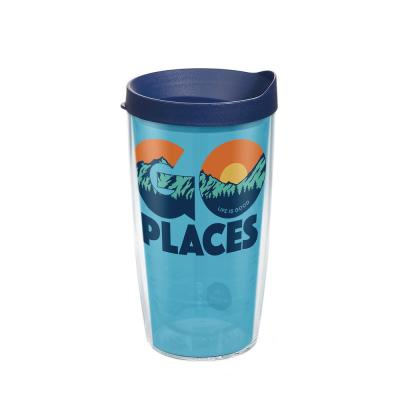 Clear Tervis 1249253 Flip Flop State of Mind Tumbler with Wrap and Turquoise Lid 16oz