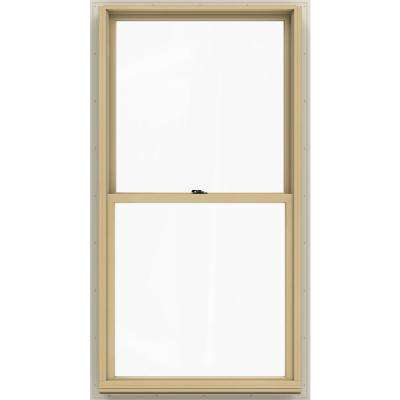 33.375 in. x 64.5 in. W-2500 Series White Painted Clad Wood Double Hung Window w/ Natural Interior and Low-E Glass