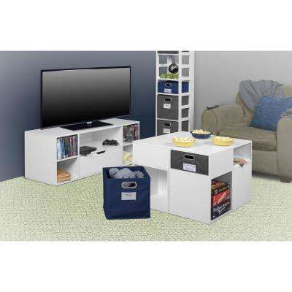 Mod White Wood Grain TV Stand