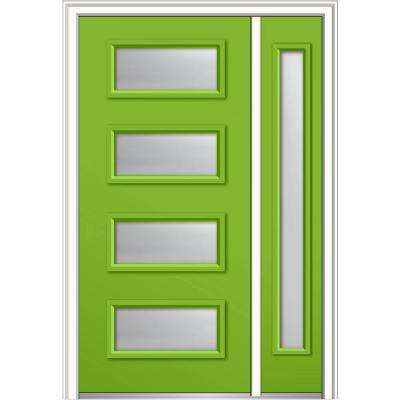 53 in. x 81.75 in. Celeste Clear Low-E Left-Hand 4-Lite Eclectic Painted Fiberglass Prehung Front Door with Sidelite