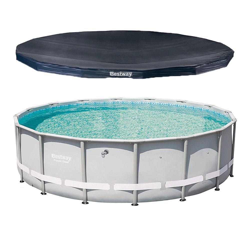 Bestway 16 ft. Round 48 in. D Power Steel Hard Side Frame Pro Swimming Pool  and PVC Pool Cover