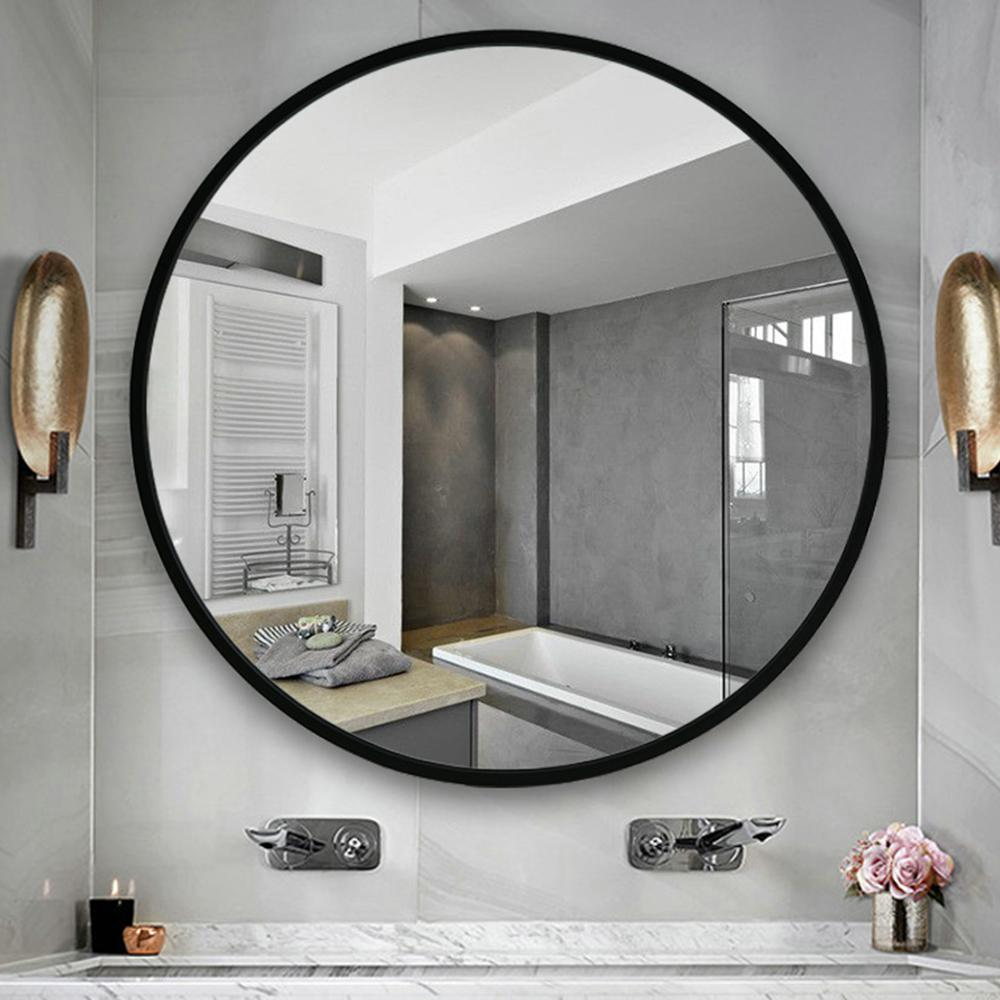 Unbranded Neutype 24 Inches Large Modern And Contemporary Aluminum Alloy Metal Framed Round Bathroom Vanity Wall Mounting Mirror Jj00513aaf The Home Depot