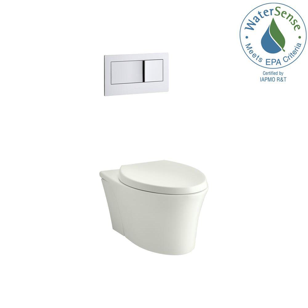 KOHLER Veil Wall-Hung Two-piece 0.8/1.6 GPF Dual Flush Elongated Toilet in Dune