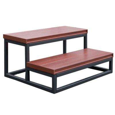 21 in. x 30 in. x 14 in. 2 Tier Spa Step in Mahogany