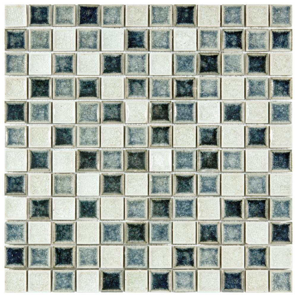 Merola Tile Crackle Square Azure Mix 11-5/8 in. x 11-5/8 in. x 8 mm Ceramic and Glass Mosaic Tile
