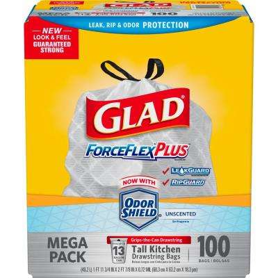 13 Gal. Drawstring ForceFlex Tall White Kitchen Bags (100-Count)