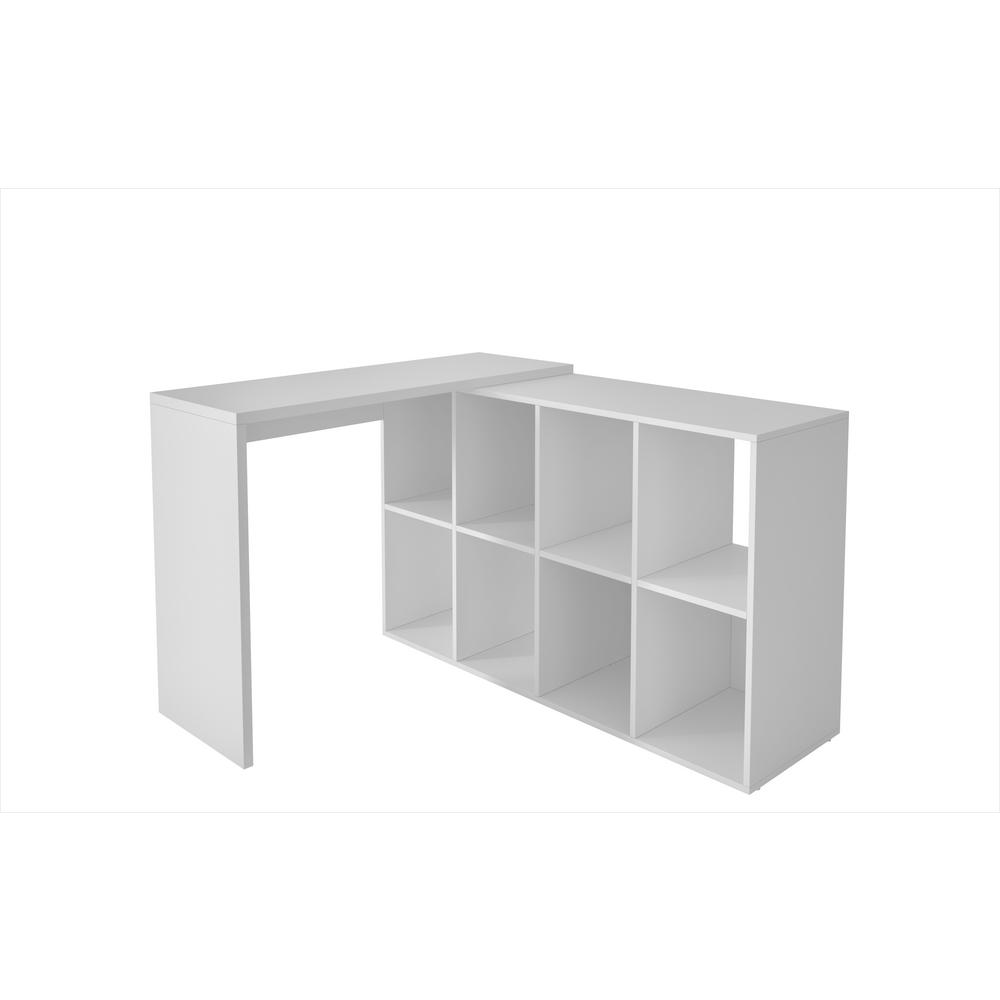 Accentuations by Manhattan Comfort Taranto White Cubby Desk with 8 Shelves