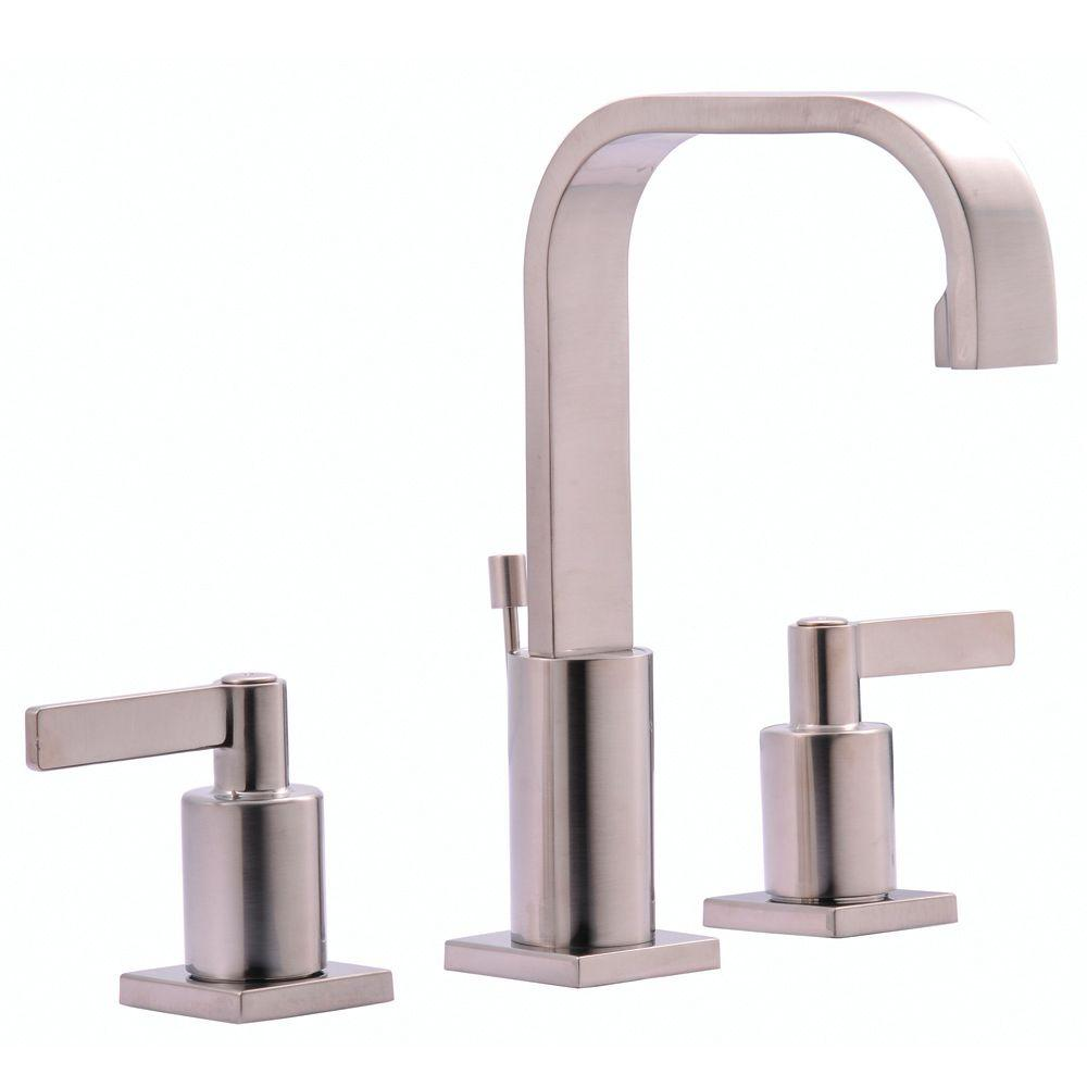 Kingston Brass Continental 8 in. Widespread 2-Handle High-Arc Bathroom Faucet in Satin Nickel