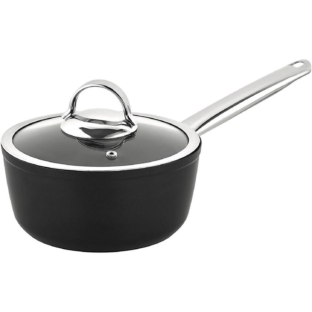 Titanium 1.5 qt. Aluminum Coated NonStick Sauce Pan in Gray with Glass Lid