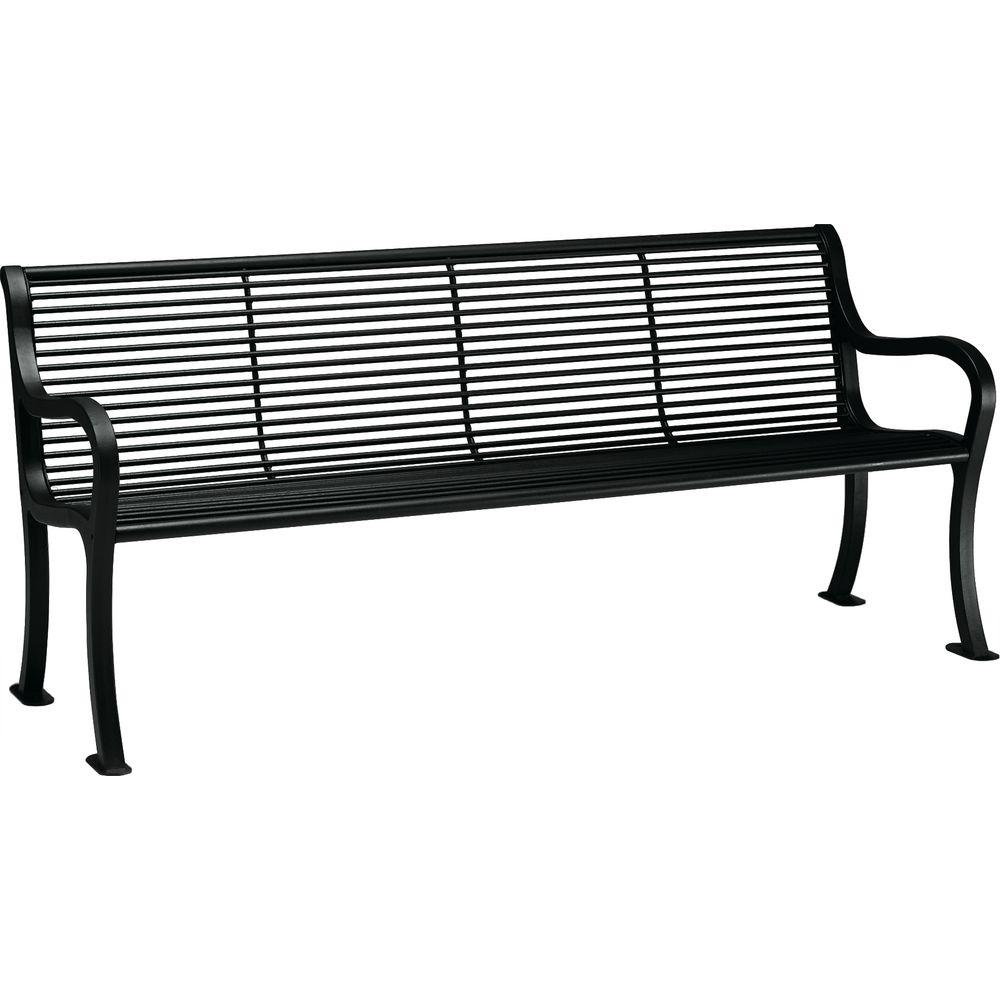 Textured Black Patio Bench With Back