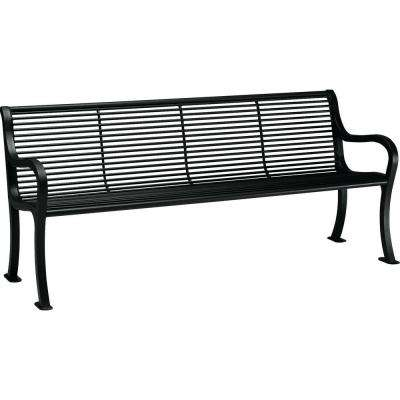 Oasis 6 ft. Textured Black Patio Bench with Back