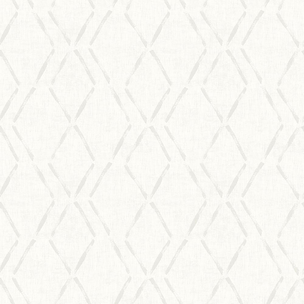 8 in. x 10 in. Tapa Cream Trellis Wallpaper Sample
