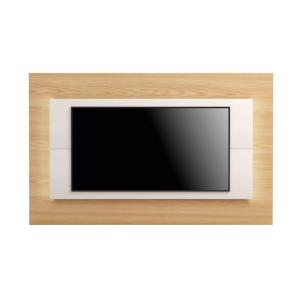 Sylvan 85.43 in. Nature Wood and Off-White TV Panel