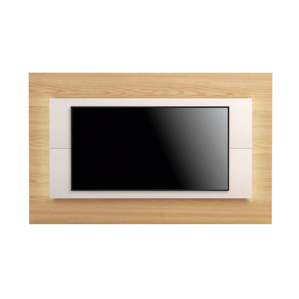 Manhattan Comfort Sylvan 85.43 in. Nature Wood and Off-White TV Panel
