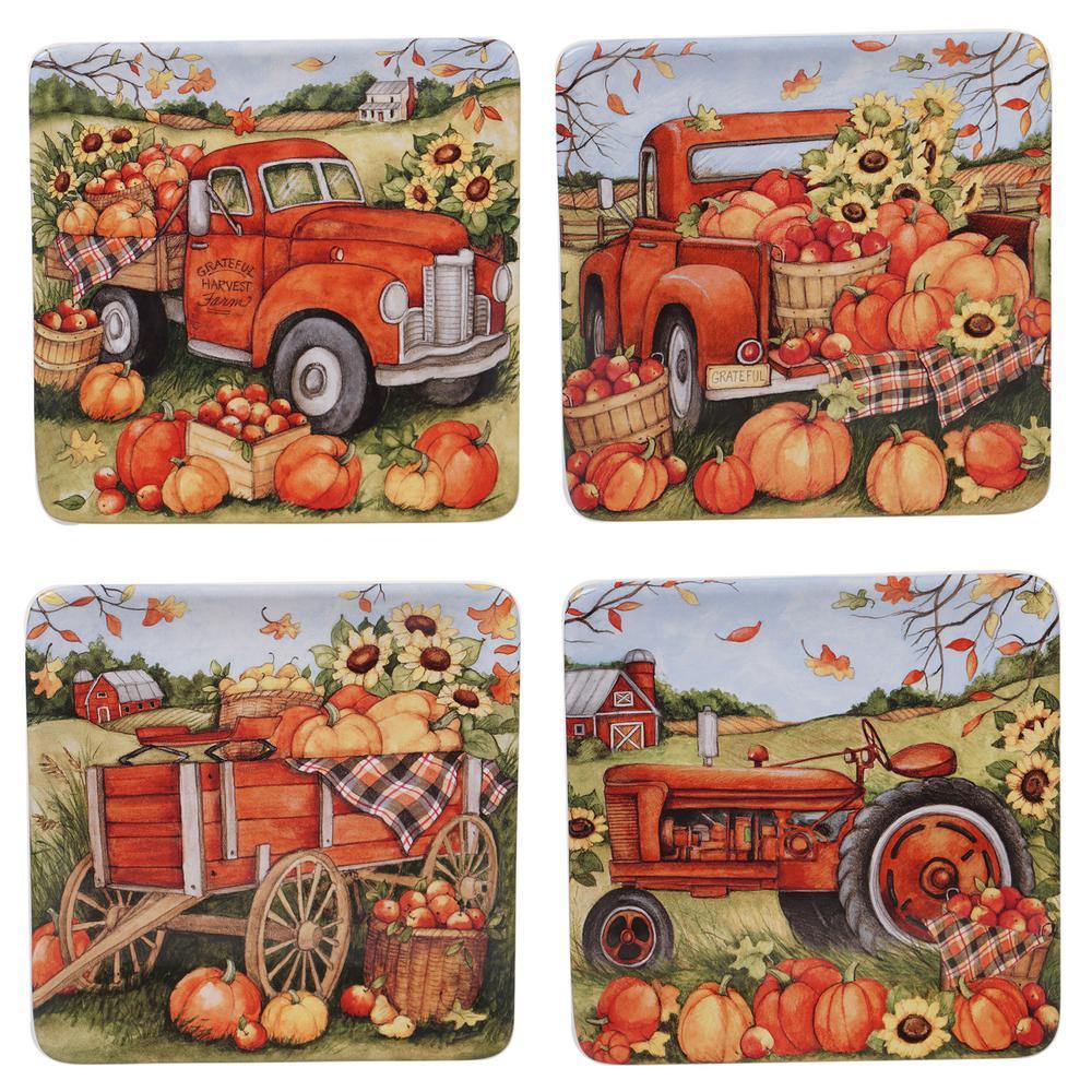 Harvest Bounty 4-Piece Multi-Colored 8.5 in. Dessesrt Plate Set