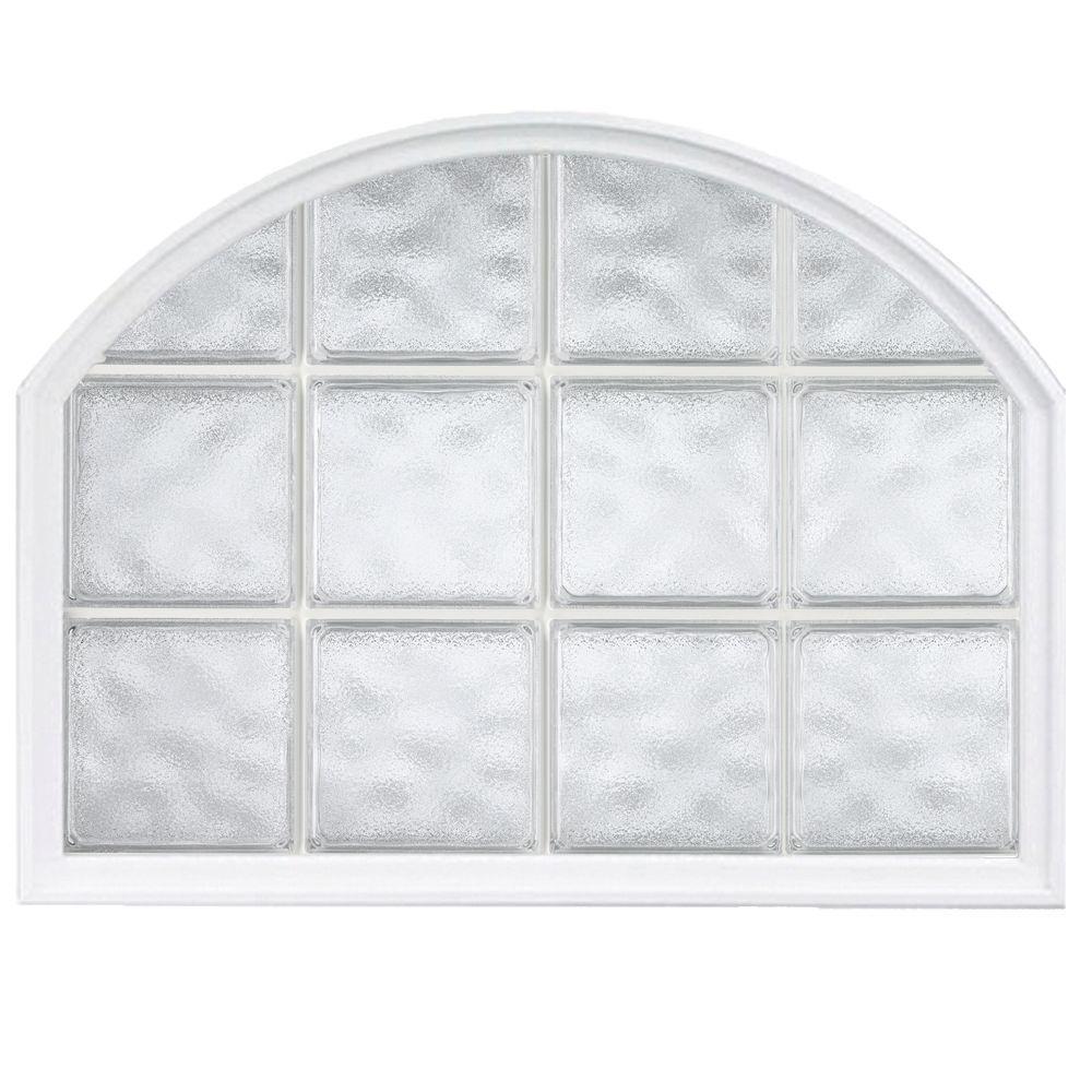 42 in. x 50 in. Acrylic Block Arch Top Vinyl Window