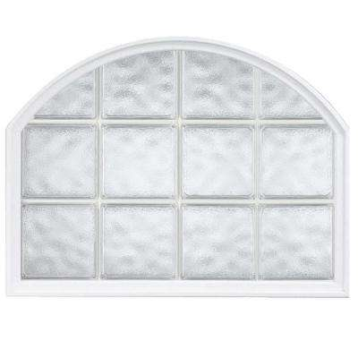 42 in. x 50 in. Acrylic Block Arch Top Vinyl Glass Block Window in White