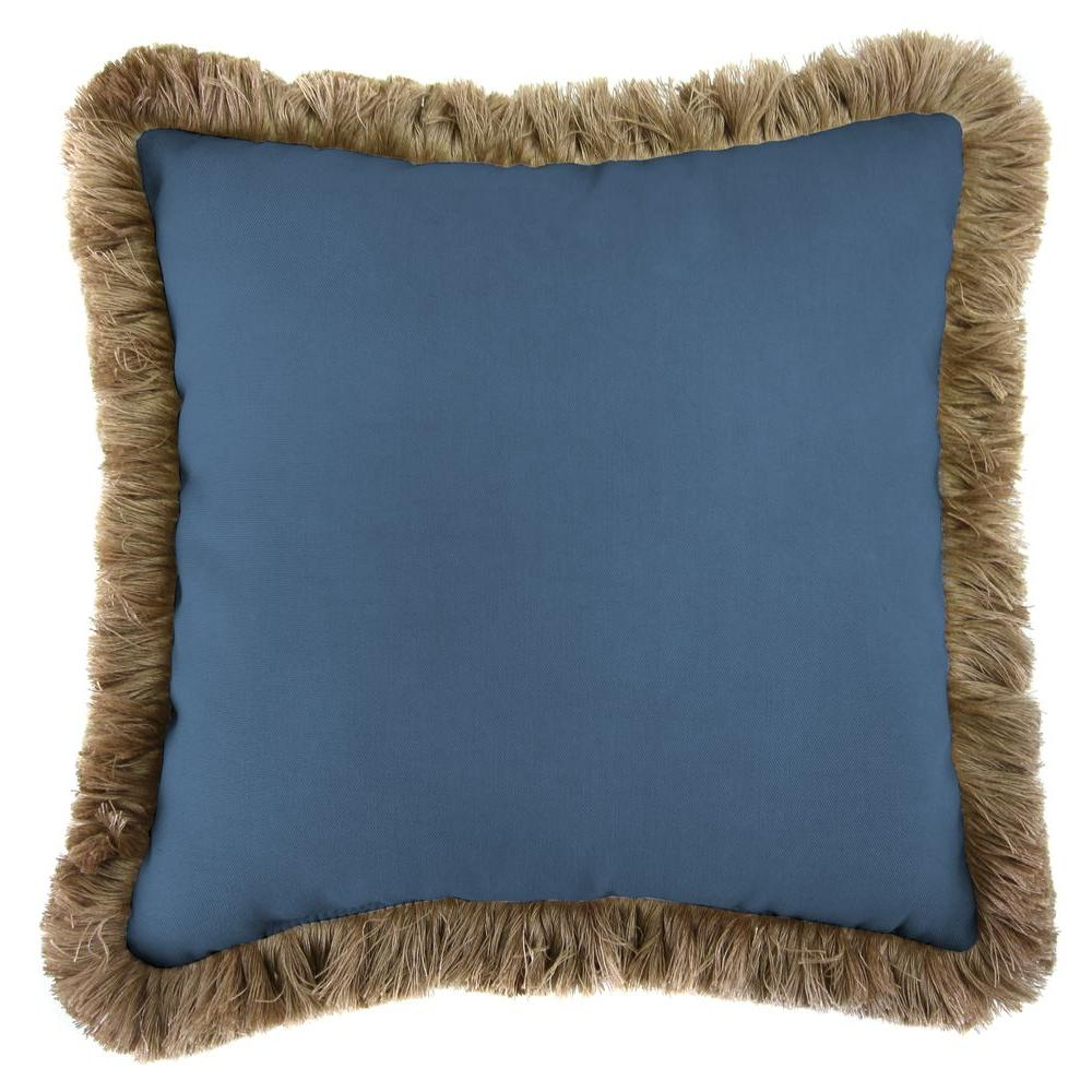 Jordan Manufacturing Sunbrella Canvas Sapphire Blue Square Outdoor Throw Pillow with Heather Beige Fringe