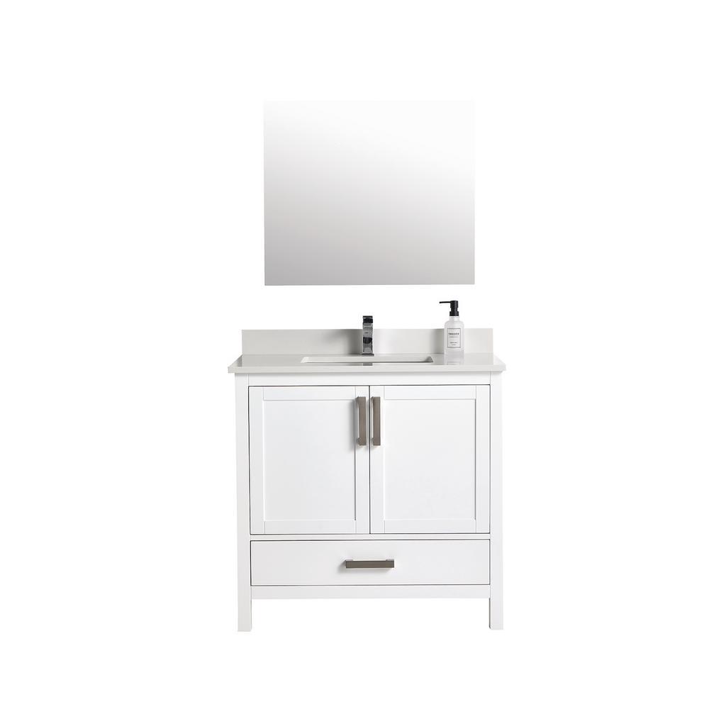 35 in. Simple Elegant Bath Vanity in White with Cultured Marble Vanity Top in and Marrior