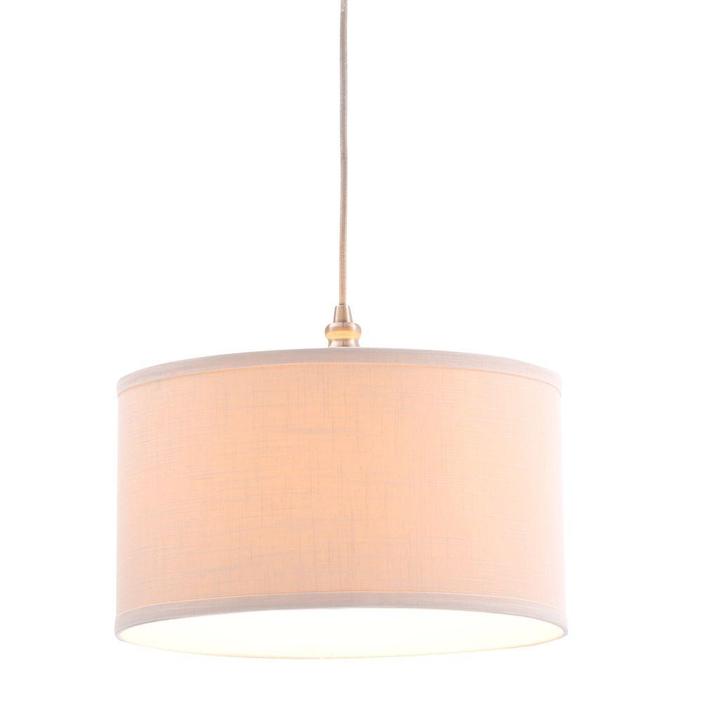 Hampton Bay Carroll 1-Light Brushed Nickel Pendant with Fabric Drum ...
