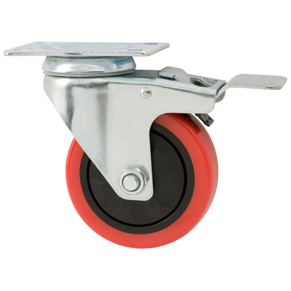 Everbilt 4 In Polyurethane Caster With Brake 4120745eb The Home