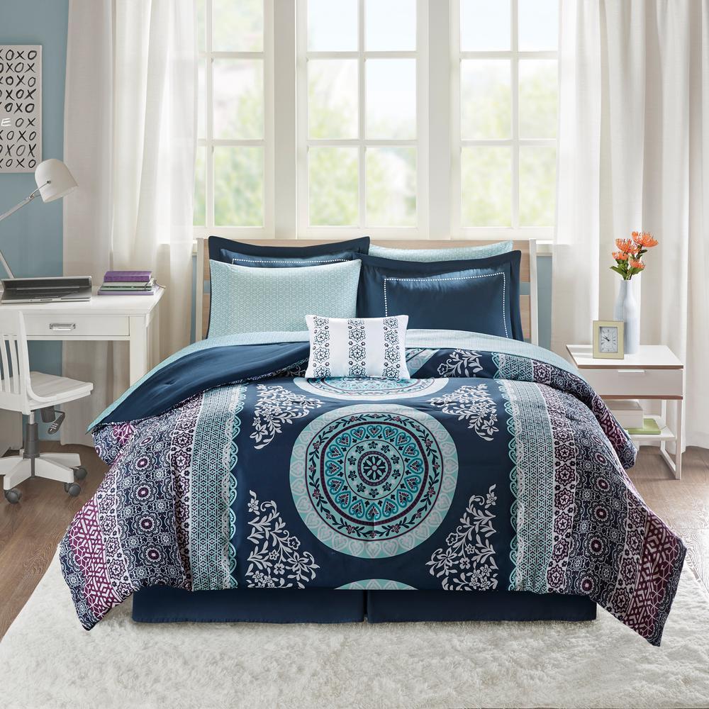 Eleni 9-Piece Navy Queen Comforter Set