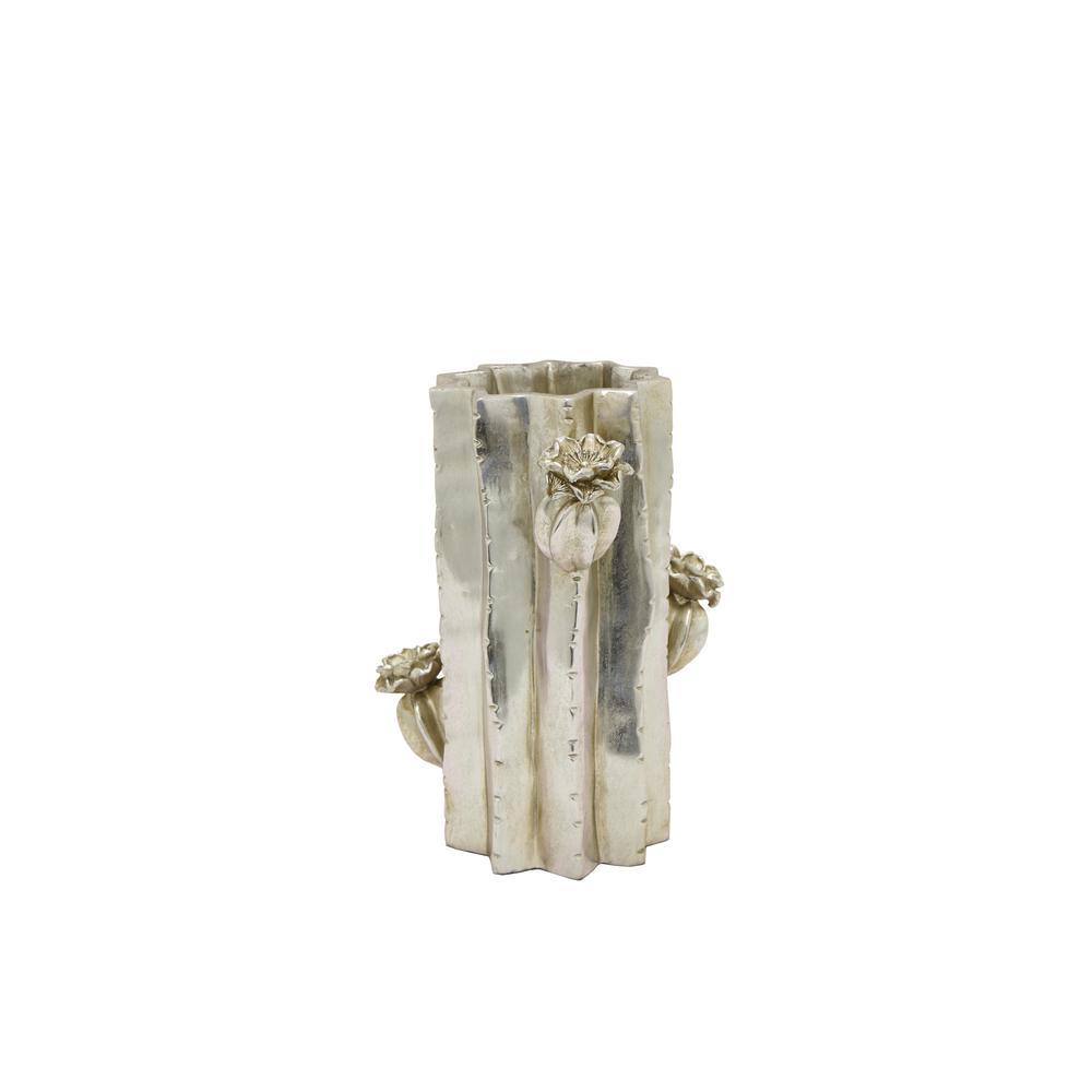 Resin Cactus Silver Vase