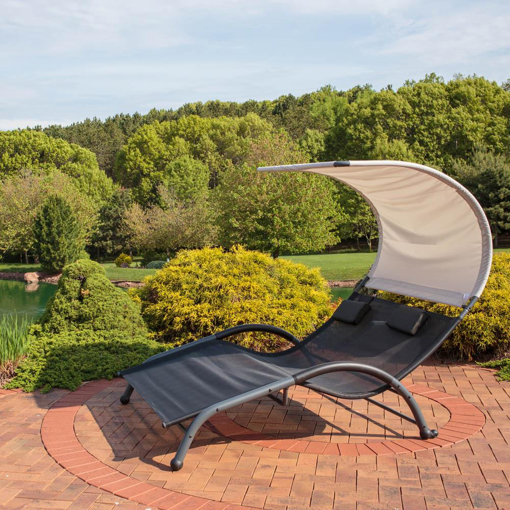 Black Steel Outdoor Double Lounge Chair With Canopy And Pillows