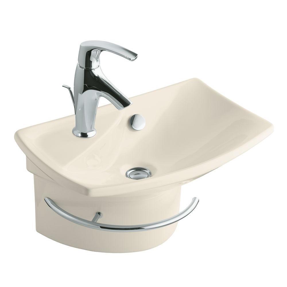 KOHLER Escale Wall-Mount Bathroom Sink in Almond-DISCONTINUED