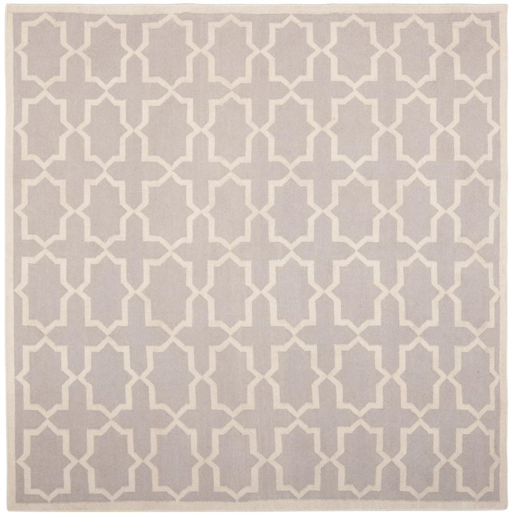 Safavieh Dhurries Grey/Ivory 8 ft. x 8 ft. Square Area Ru...