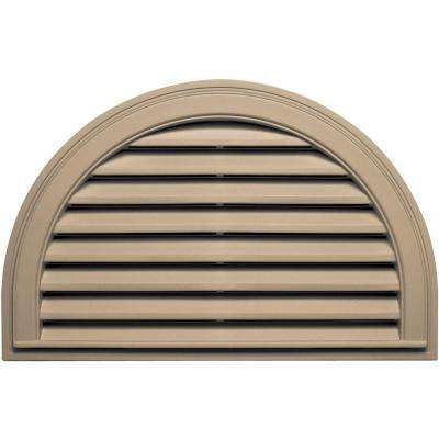 22 in. x 34 in. Half Round Gable Vent in Tan