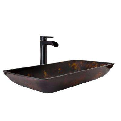 Vessel Sink in Brown and Gold Fusion and Niko Faucet Set in Antique Rubbed  Bronze. Glass   Bathroom Sinks   Bath   The Home Depot