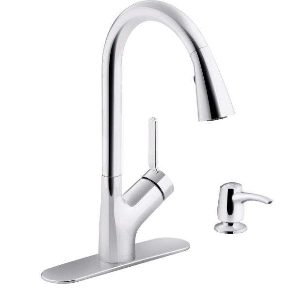 Kohler Setra Single Handle Pull Down Sprayer Kitchen Faucet In Polished Chrome K R22897 Sd Cp The Home Depot