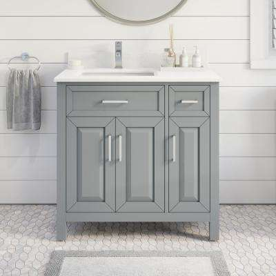 Terrence 36 in. W x 22 in. D Bath Vanity in Gray ENGRD Stone Vanity Top in White with White Basin Power Bar-Organizer