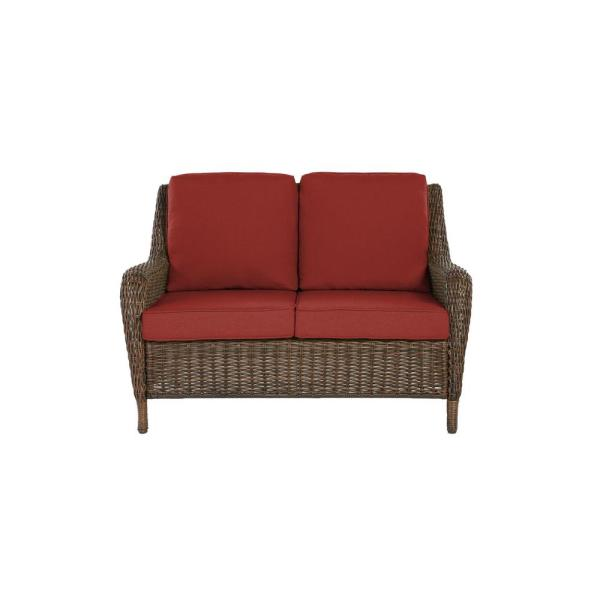 Cambridge Brown Wicker Outdoor Patio Loveseat with Sunbrella Henna Red Cushions