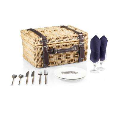 Champion Navy Wood Picnic Basket with Brown Leatherette Straps