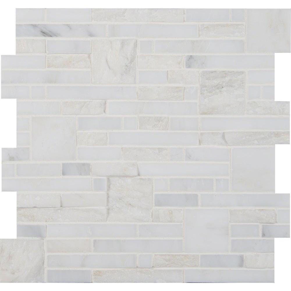 Msi Greecian White Opus 12 In X 10 Mm Natural Marble Mesh Mounted Mosaic Tile Sq Ft Case
