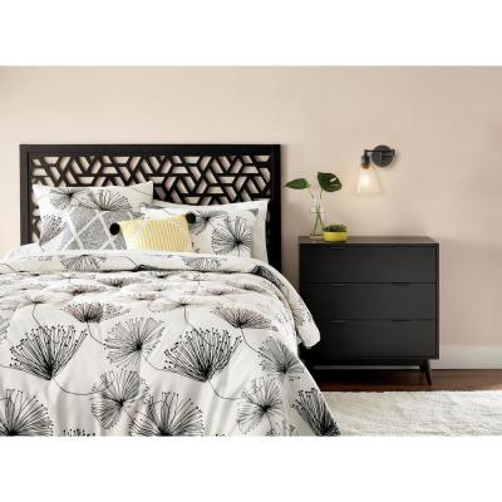 Sweeney 5-Piece White/Black Floral Comforter Set