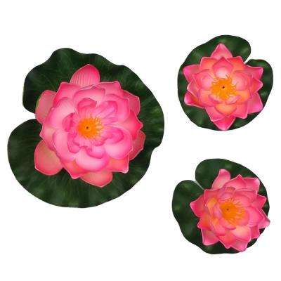 Decorative Floating Artificial Pink Lotus Water Lilies (3-Piece)