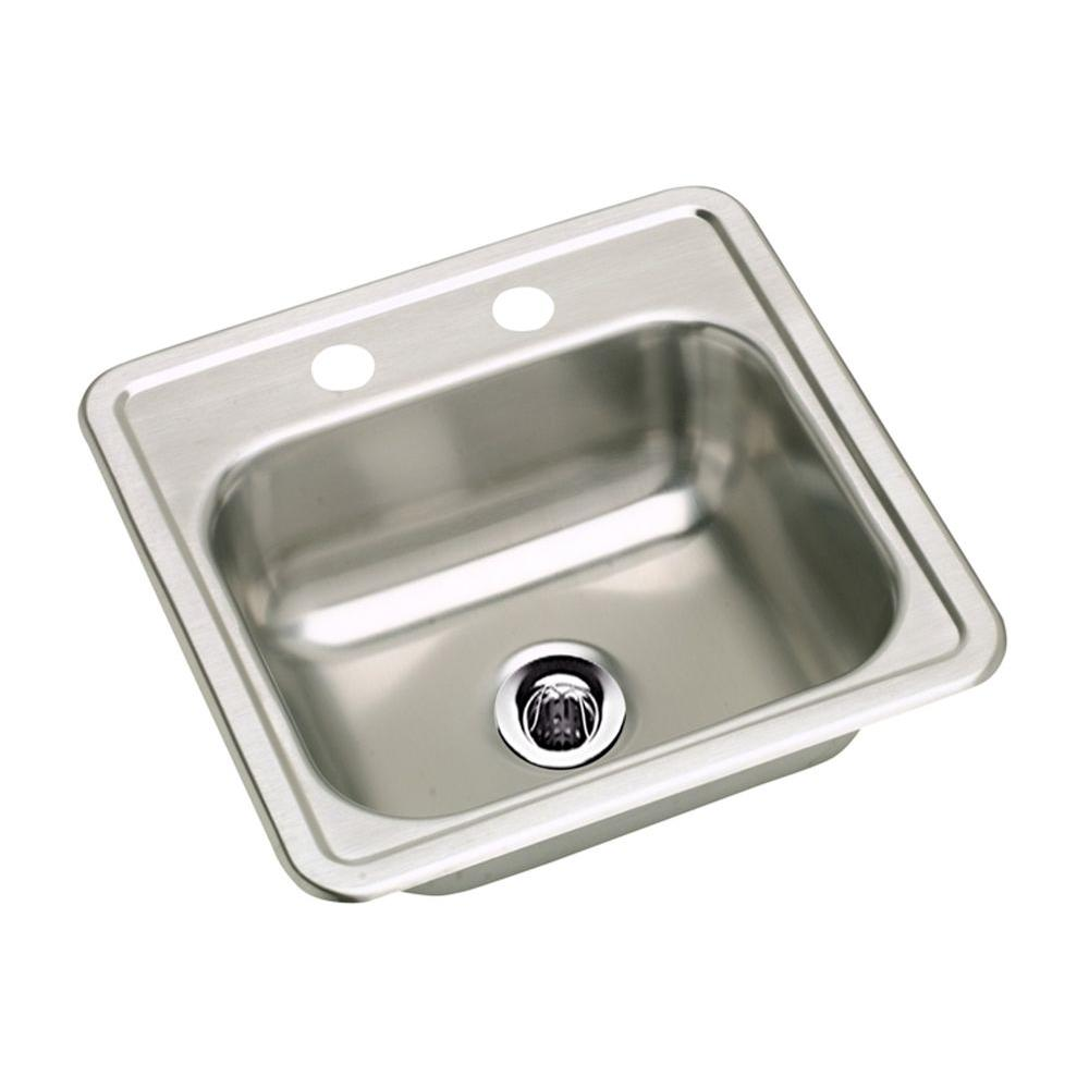 Elkay Neptune Drop In Stainless Steel 15 In. 2 Hole Single Bowl Kitchen