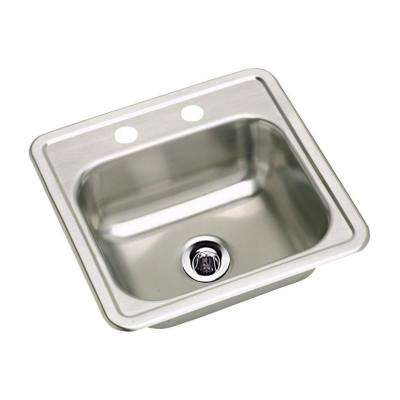 Neptune Drop-In Stainless Steel 15 in. 2-Hole Single Bowl Kitchen Sink