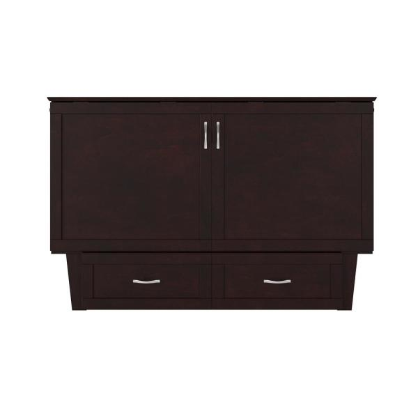 Monroe Espresso Queen Murphy Bed Chest with Charging Station
