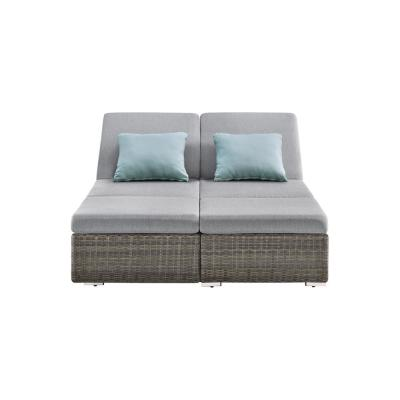 Nadia II 1-Piece Gray Wicker Outdoor Day Bed with Gray Cushions