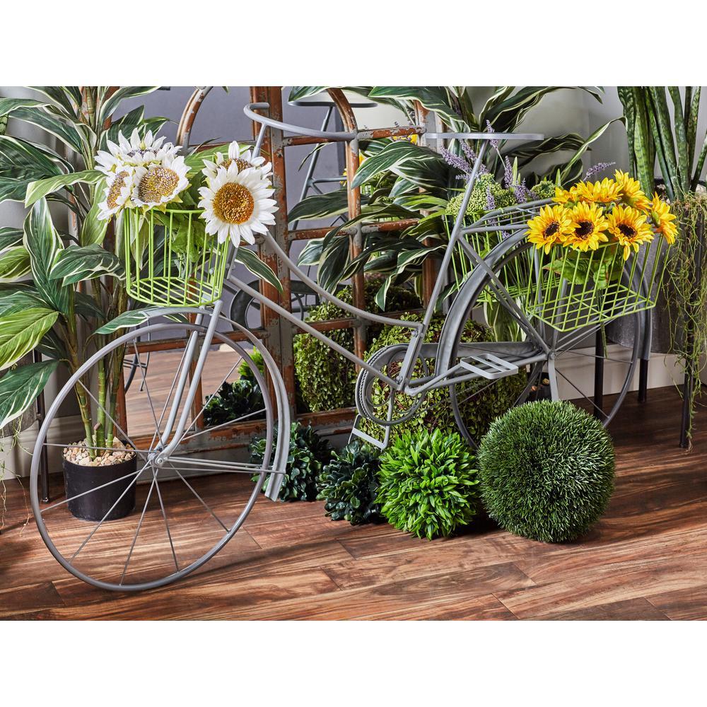 Litton Lane Gray Iron Bicycle Planter 45082