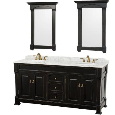 Andover 72 in. Vanity in Antique Black with Marble Vanity Top in Carrera White and Mirrors