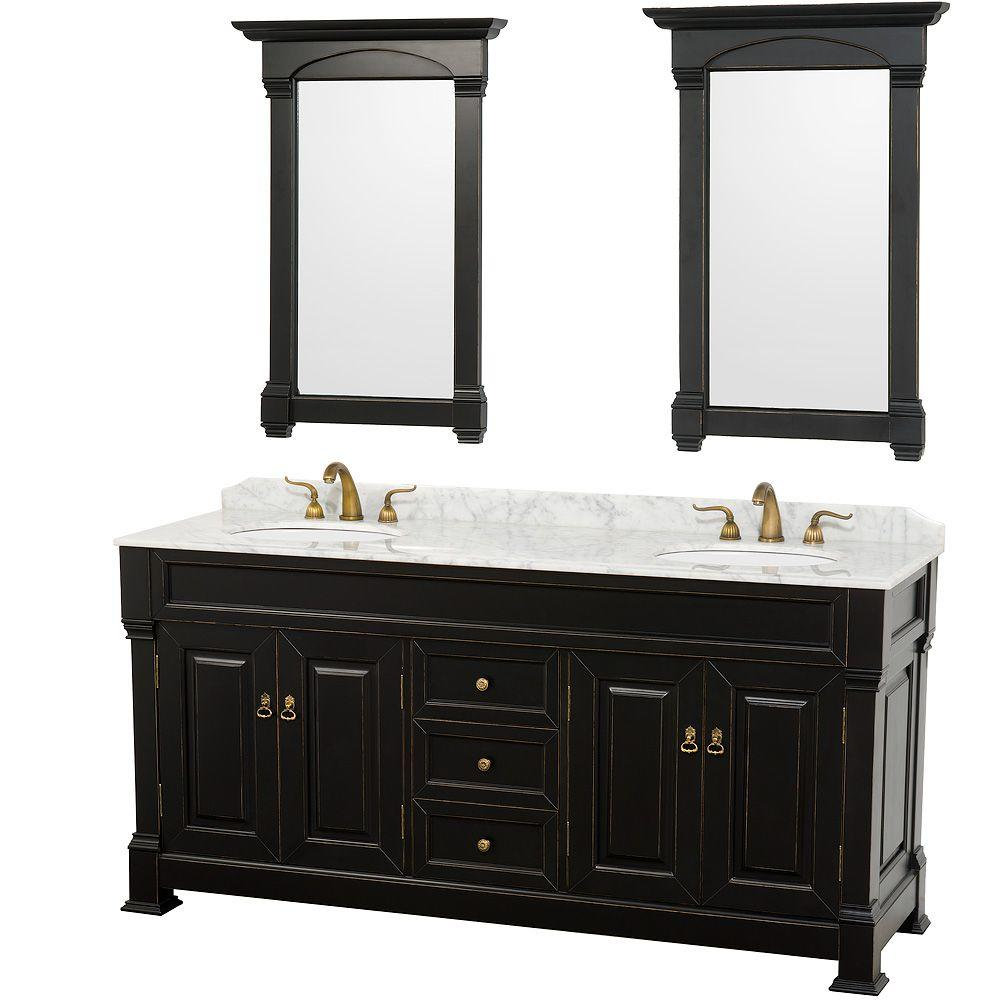 Wyndham Collection Andover 72 In Vanity Antique Black With Marble Top Carrera